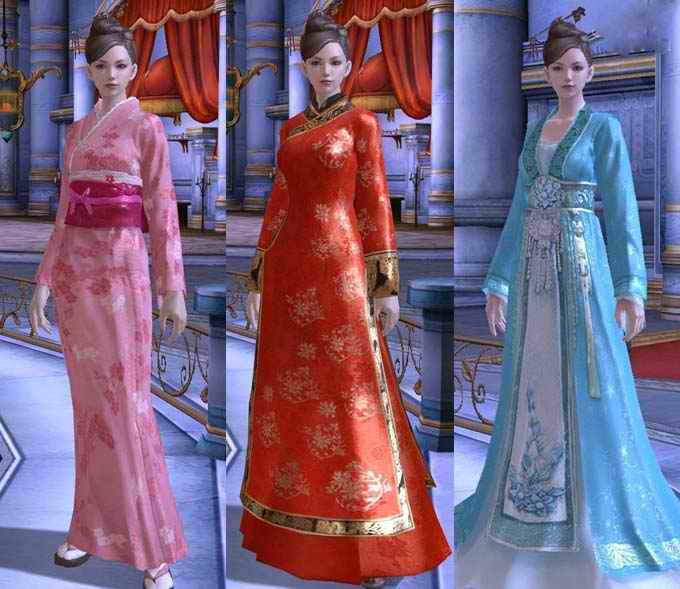由左到右依序为日本和服,中国皇室服饰,中国古代传统服装