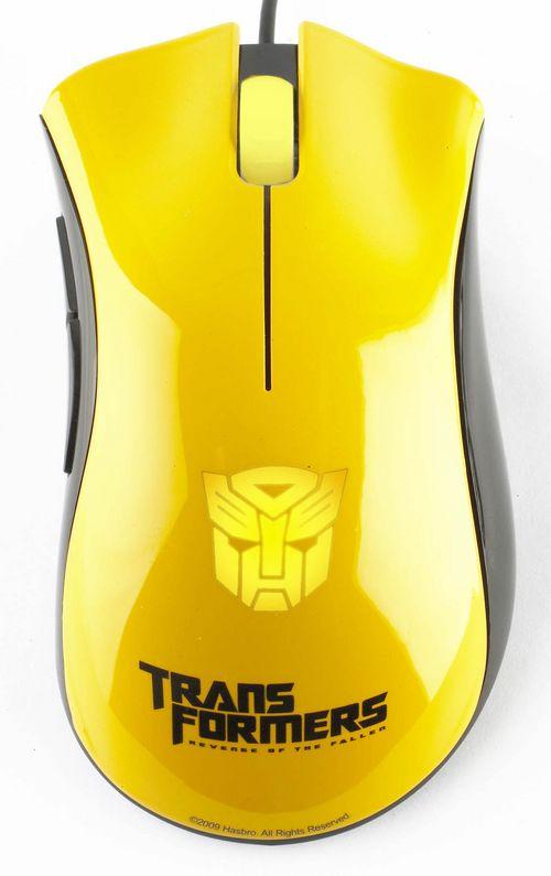 razer炼狱蝰蛇之大黄蜂版,背部呼吸灯采用博派头像设计.