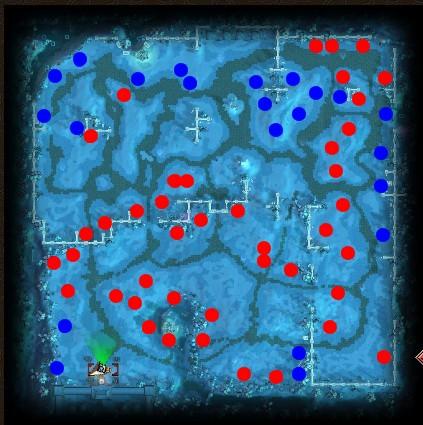 天龙八部:雪原9级.10级矿石分布图