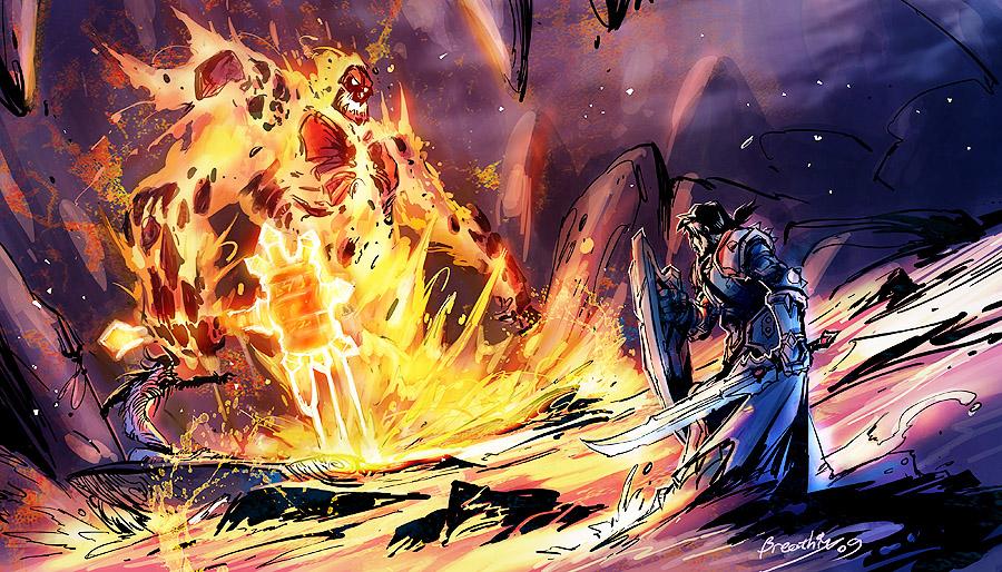 """""""   这是wow艾泽拉斯时代经典的一幕,当火焰之王拉格纳罗斯从岩浆升起"""
