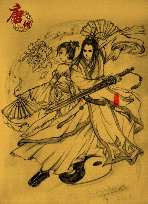《剑网3》纯阳与七秀手绘底稿 —《剑侠情缘ol3》—3