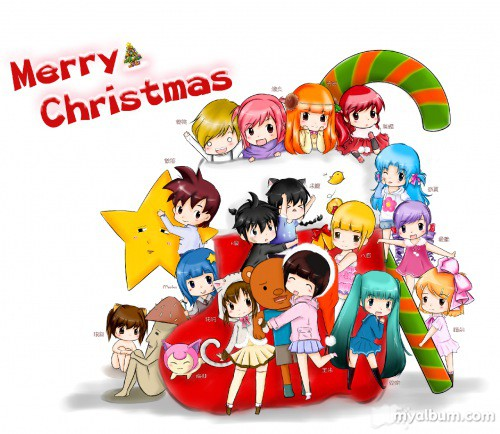 四格漫画 圣诞冒险岛全家福 精美手绘分享