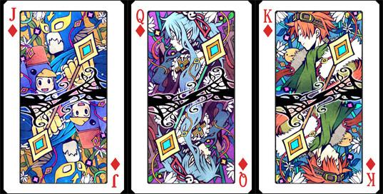 扑克牌的背面底纹为规则排列的茶褐色菱形图案,上面则为在赌场中使用