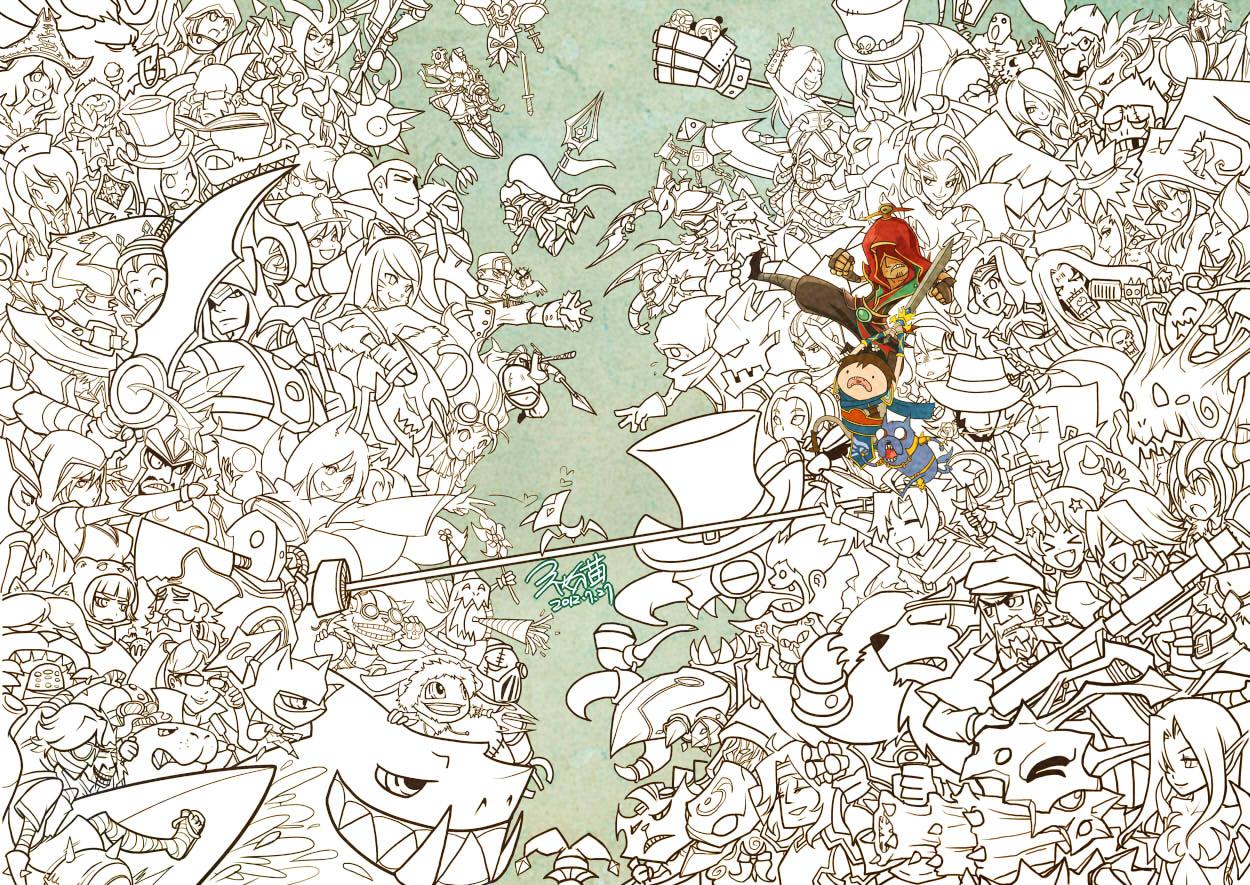 秋猫精美手绘壁纸:百位英雄大乱斗