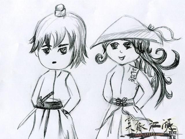 笑傲江湖玩家手绘漫画--令狐冲任盈盈