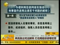 特辑 两高公布司法解释 网络大V受警示[北京