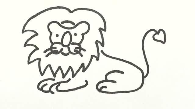狮子简笔画 360视频搜索