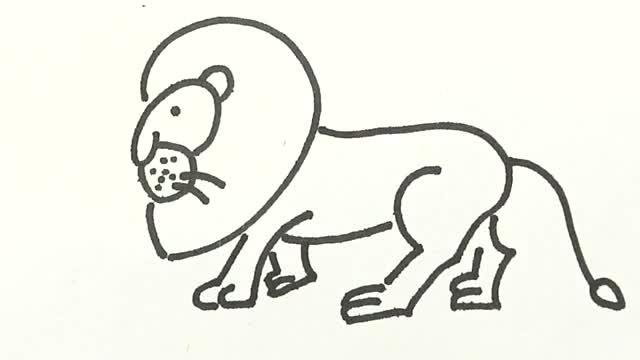 狮子简笔画-360视频搜索
