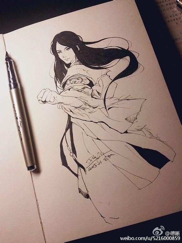 钢笔手绘闲卿